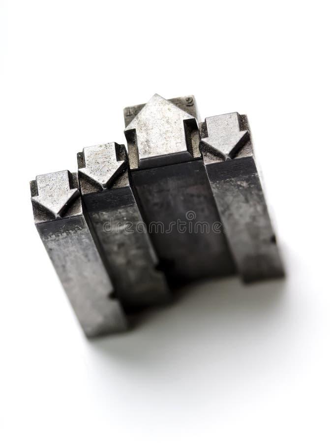 strzała letterpress rocznik fotografia stock