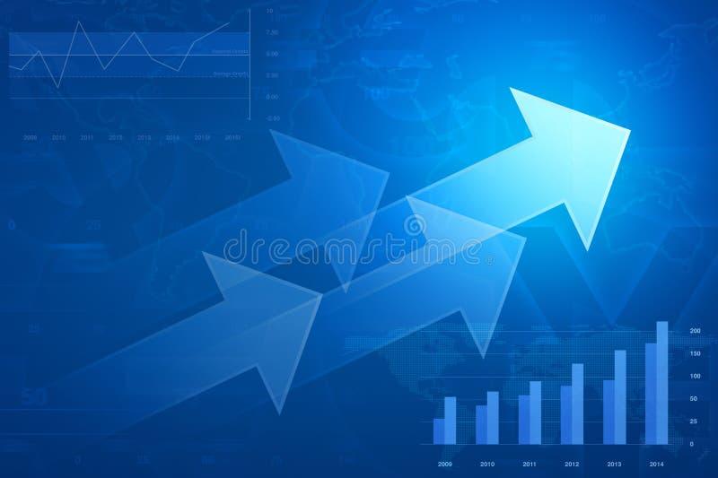 Strzała na pieniężnym wykresie i mapie, sukcesu biznes, elementy o ilustracja wektor