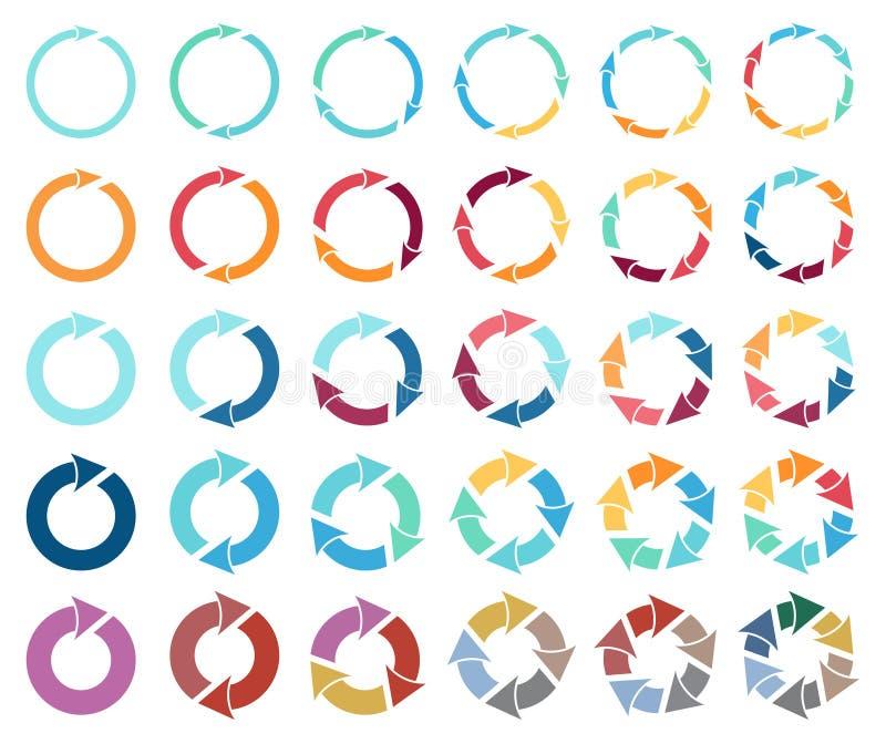 30 strzała piktogram odświeża przeładowywa obracanie pętli znaka set ilustracji