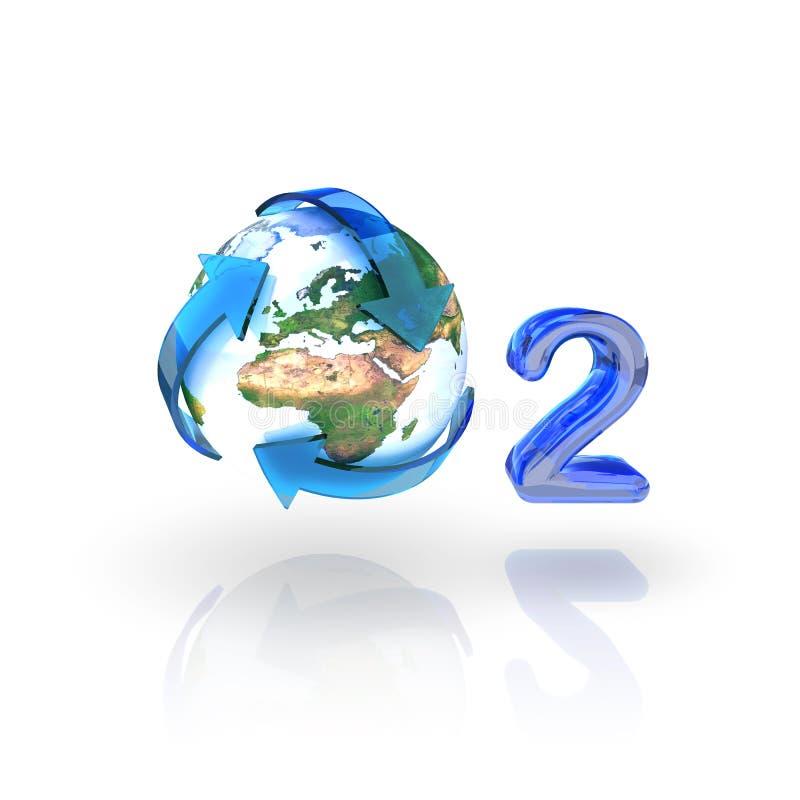strzała pojęcia eco kuli ziemskiej o2 tlen przetwarza ilustracja wektor