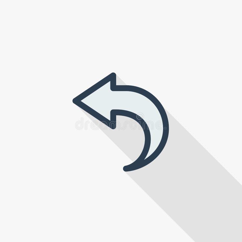 Strzała przeładowywa, tylna, zacofana, cienka kreskowa płaska kolor ikona, Liniowy wektorowy symbol Kolorowy długi cienia projekt royalty ilustracja