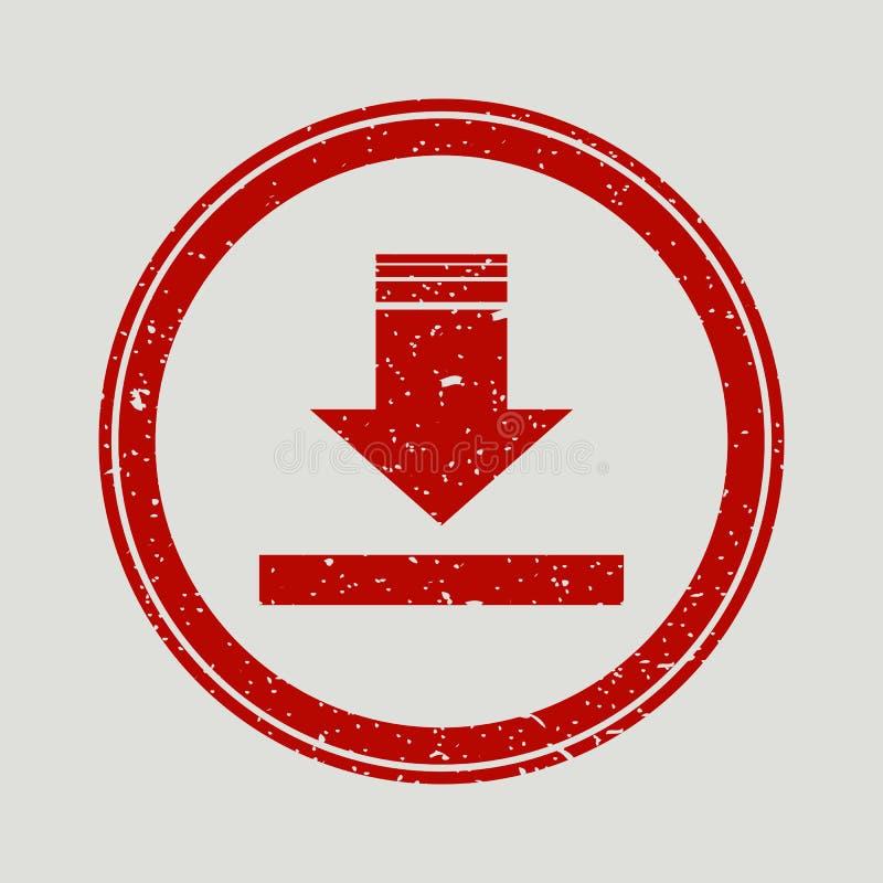 Strzała puszka foki znaczka gumowy watermark Ikona wektorowy symbol z grunge projektem i korodowanie teksturą Porysowany czerwony ilustracji