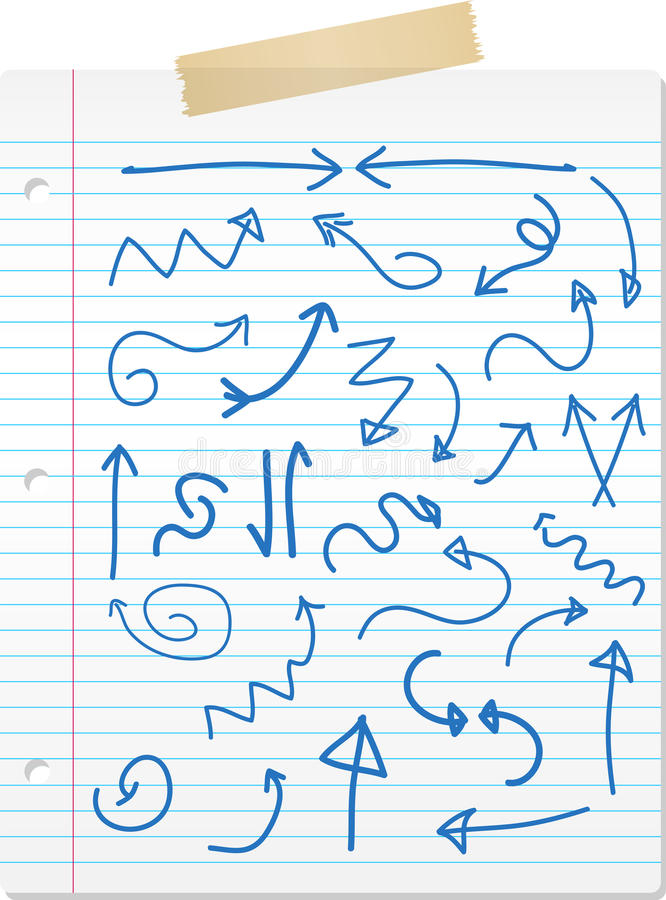 strzała rysować wręczają prążkowanego papier royalty ilustracja