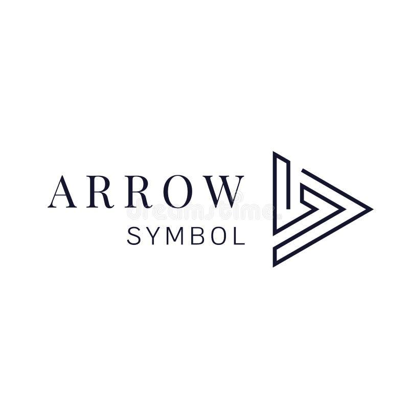 Strzała szyldowa wektorowa ikona Następny strzałkowaty loga projekt Właściwa wskazówka symbol ilustracja wektor