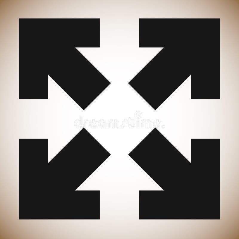 Strzała w 4 kierunku - Resize, wyrównuje, maksymalizuje, pojęcie ikonę ilustracji