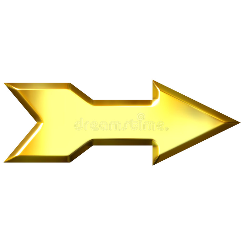 strzała złota 3 d royalty ilustracja