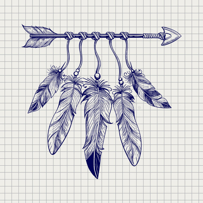 Strzała z piórkami na notatnik stronie ilustracja wektor