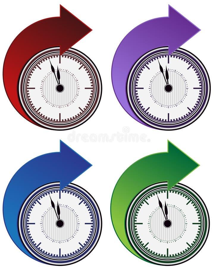 strzała zegar posyła set royalty ilustracja