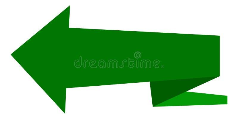 Strzała zieleń, ściąganie markiera pointer, wektoru znak naprzód, orientacja symbolu sztandar, interfejsu guzik royalty ilustracja