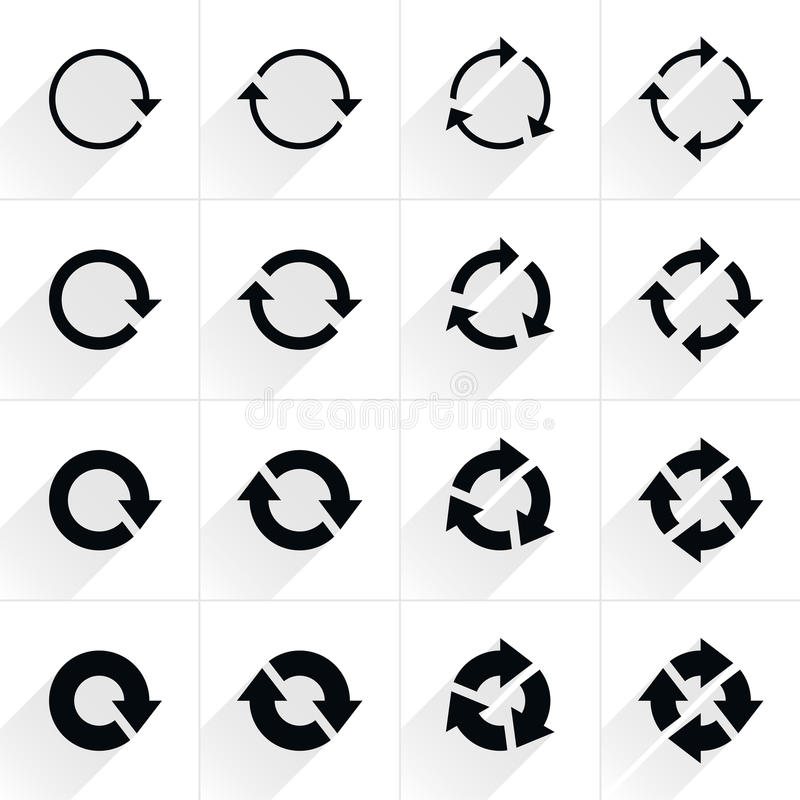 Strzała znak odświeża, obracanie, reset, powtórki ikona ilustracji