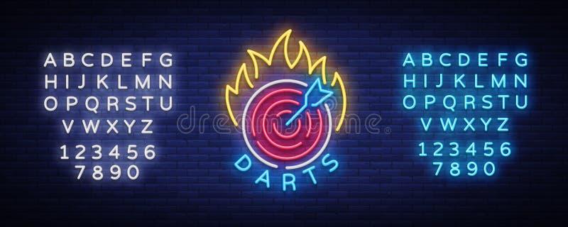 Strzałka logo w Neonowym stylu Neonowy znak, Jaskrawa nocy reklama, Lekki sztandar Vecton ilustracja Edytorstwo teksta neonowy zn ilustracja wektor