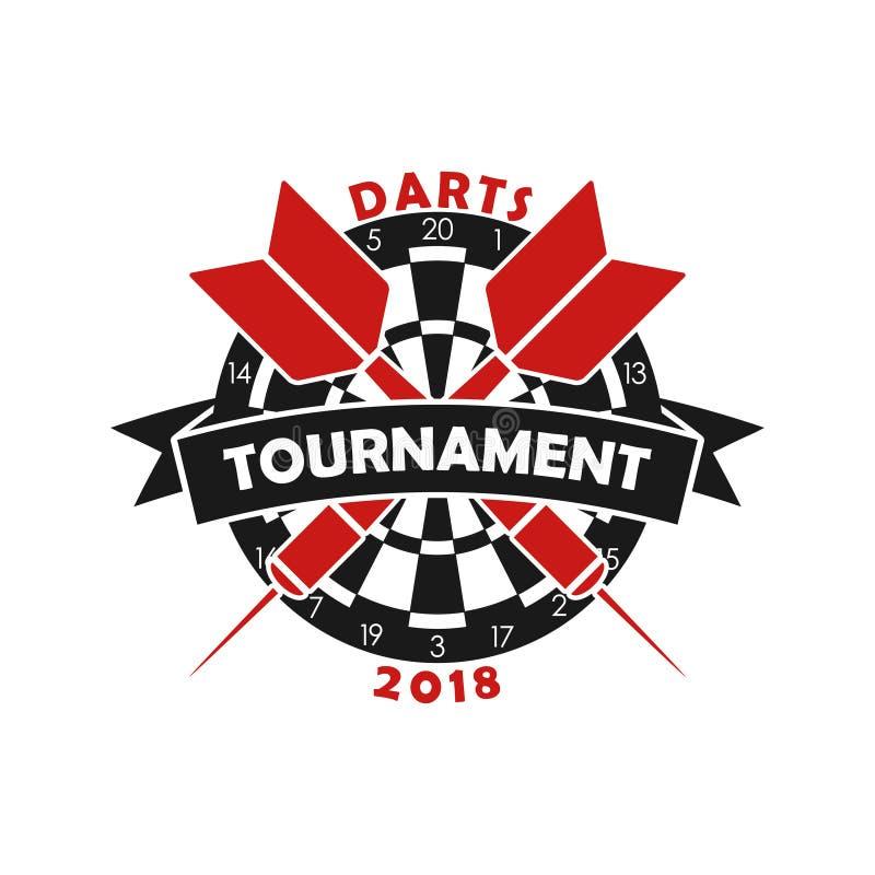 Strzałka turnieju logo Szablon dla sporta mistrzostwa emblemata z strzałką, dartboard i faborkiem, wektor ilustracji