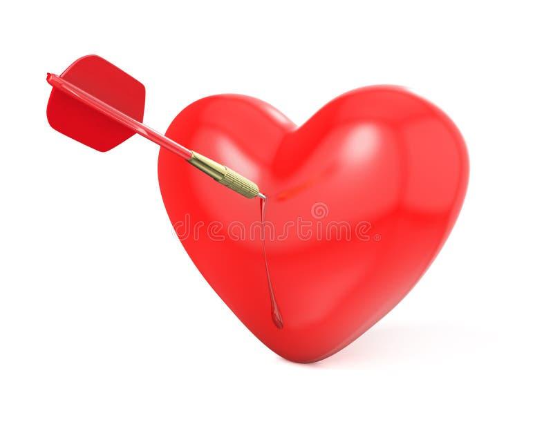 Strzałka uderza czerwonego serce ilustracja wektor
