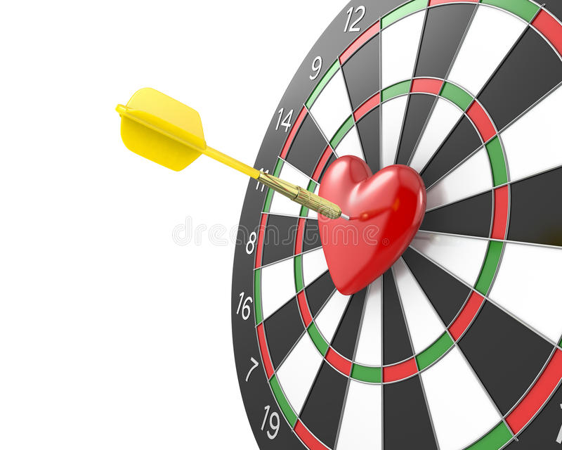 Strzałka uderza serce w centrum datrboad ilustracji