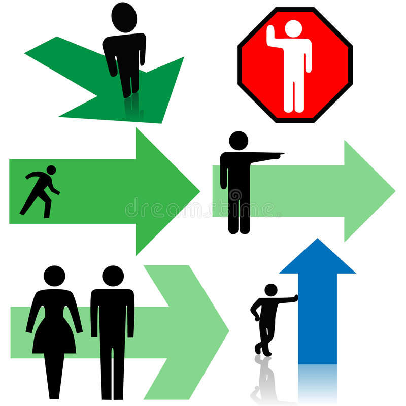 strzałkowaci kierunku punktu zestawy znaków symbolu ludzi ilustracji
