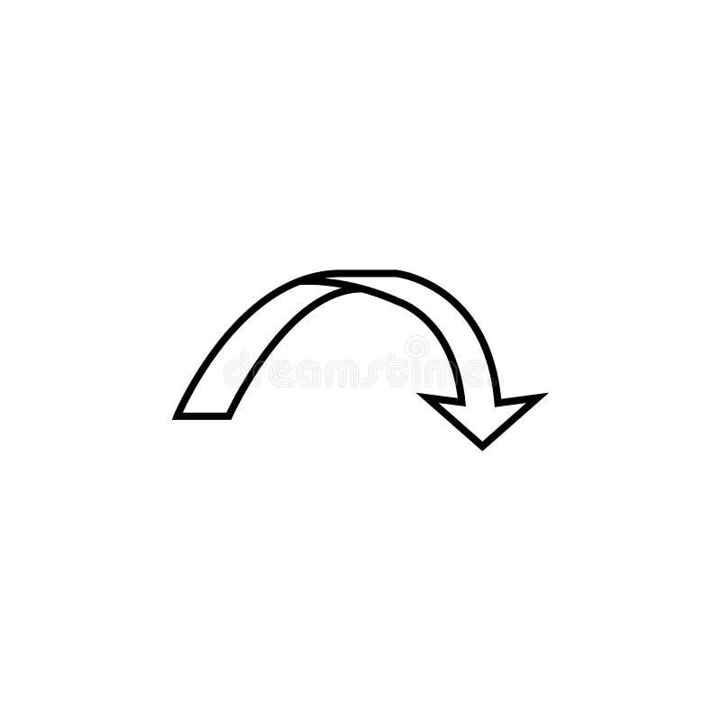 strzałkowata łuk ikona Element prosta ikona dla stron internetowych, sieć projekt, wisząca ozdoba app, ewidencyjne grafika Cienka ilustracja wektor