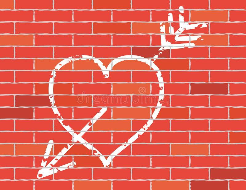 strzałkowata ceglana ściana serce ilustracja wektor