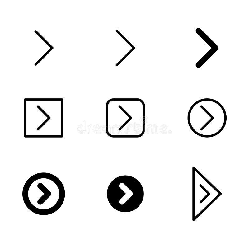 Strzałkowata wektorowa ikona ustawiająca w cienkiej linii i wypełniającym stylu ilustracja wektor