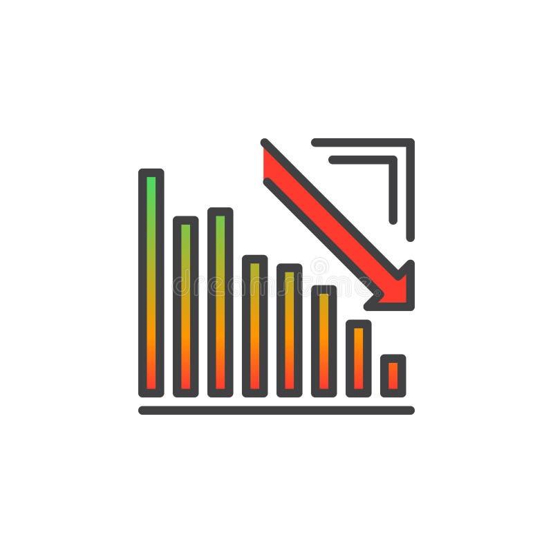 Strzałkowata wykres w dół kreskowa ikona iść, wypełniający konturu wektoru znak, liniowy kolorowy piktogram odizolowywający na bi ilustracji