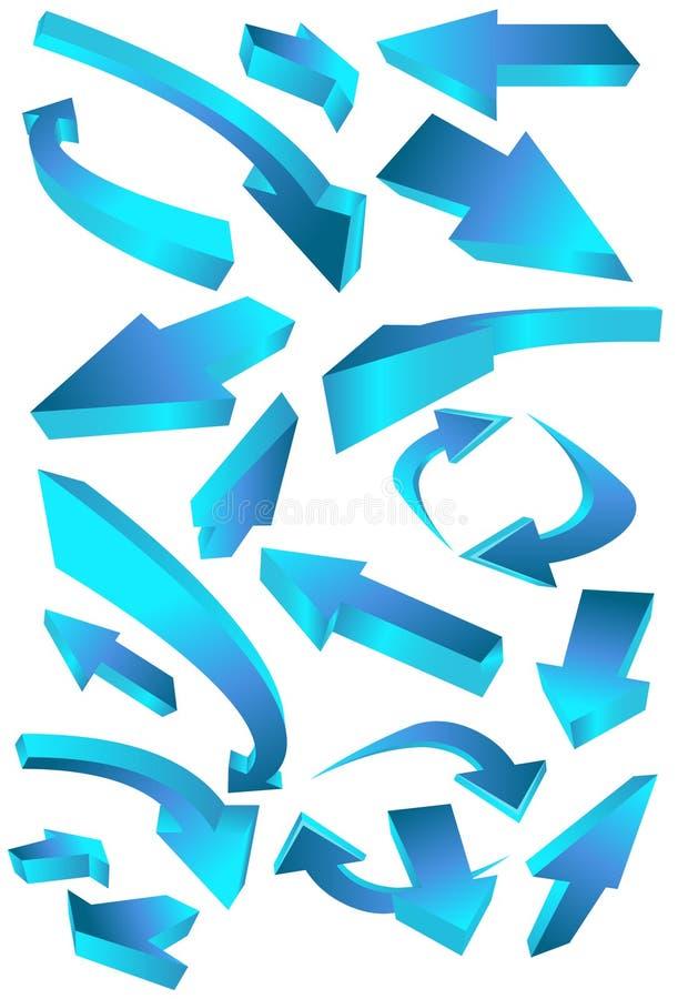 strzałkowate błękitne kierunkowe ikony royalty ilustracja