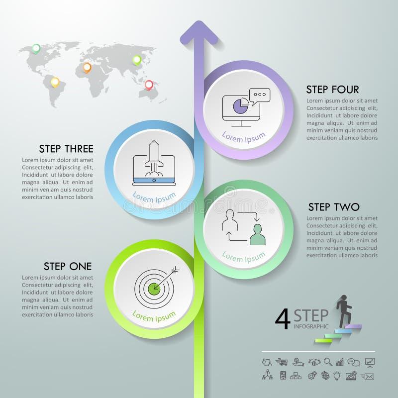 Strzałkowate infographic szablonu 4 opcje ilustracji
