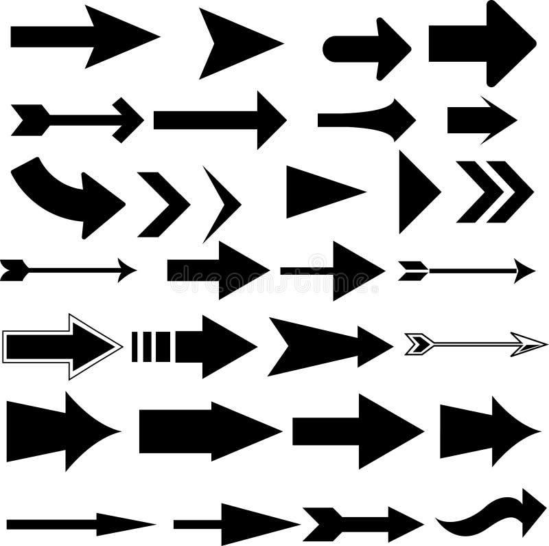 Strzałkowatego pointeru ustalony czerń odizolowywający ilustracji