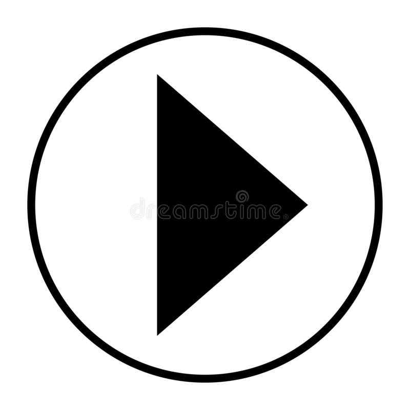 Strzałkowatej ikony sztuki guzika przedni czerń w białym tle zaokrąglającym ilustracja wektor