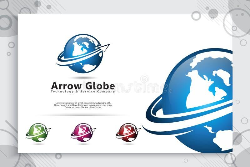 Strzałkowatej kuli ziemskiej wektorowy logo z nowożytnym pojęcie projektem, ilustracja kula ziemska dla biznesowego cyfrowego sza royalty ilustracja