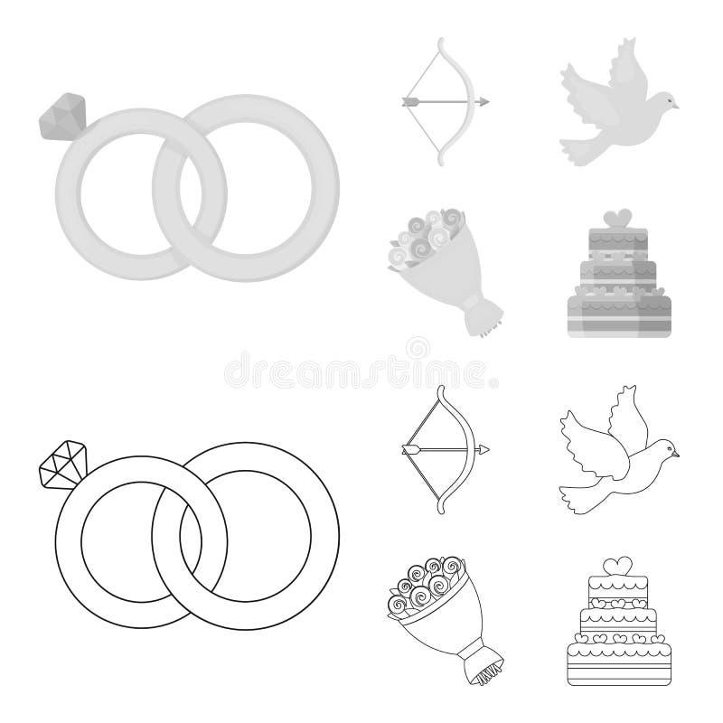 Strzałkowaty amorek, gołąbka, bukiet kwiaty, ślubny tort E royalty ilustracja