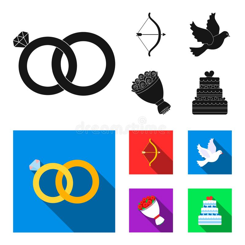 Strzałkowaty amorek, gołąbka, bukiet kwiaty, ślubny tort Weddin gset inkasowe ikony w czarnym, mieszkanie stylowy wektorowy symbo ilustracji