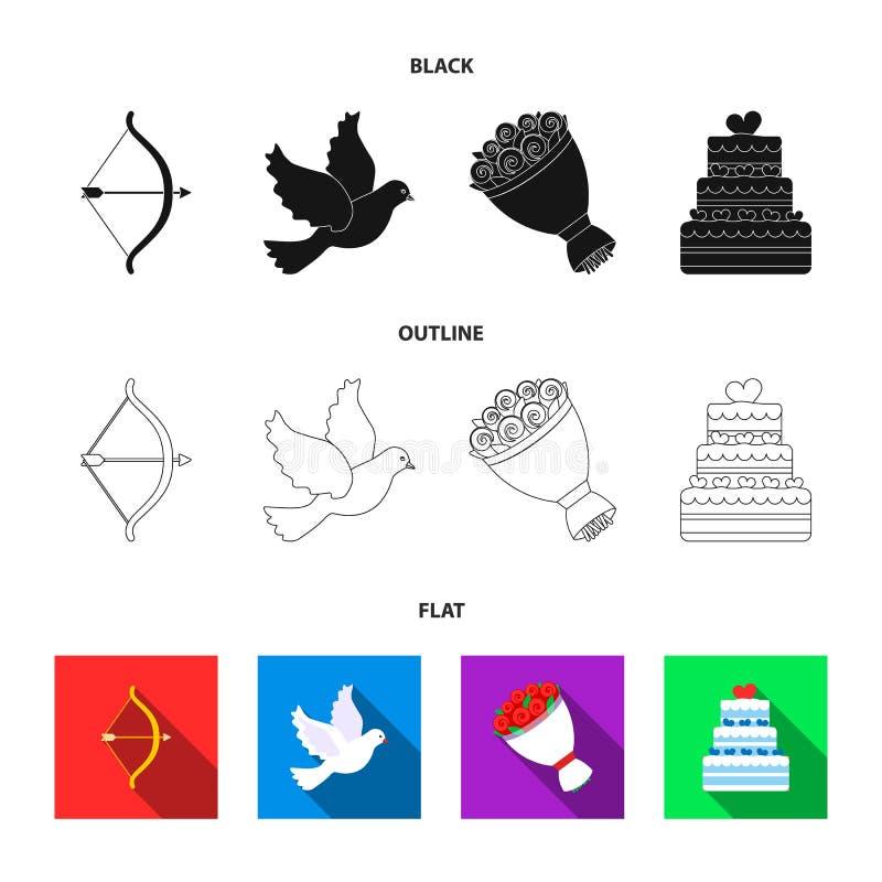 Strzałkowaty amorek, gołąbka, bukiet kwiaty, ślubny tort Weddin gset inkasowe ikony w czarnym, płaski, konturu stylowy wektor ilustracja wektor