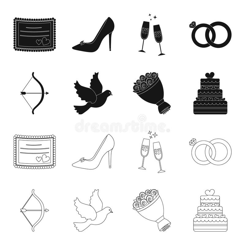 Strzałkowaty amorek, gołąbka, bukiet kwiaty, ślubny tort Weddin gset inkasowe ikony w czerni, konturu stylowy wektorowy symbol ilustracja wektor