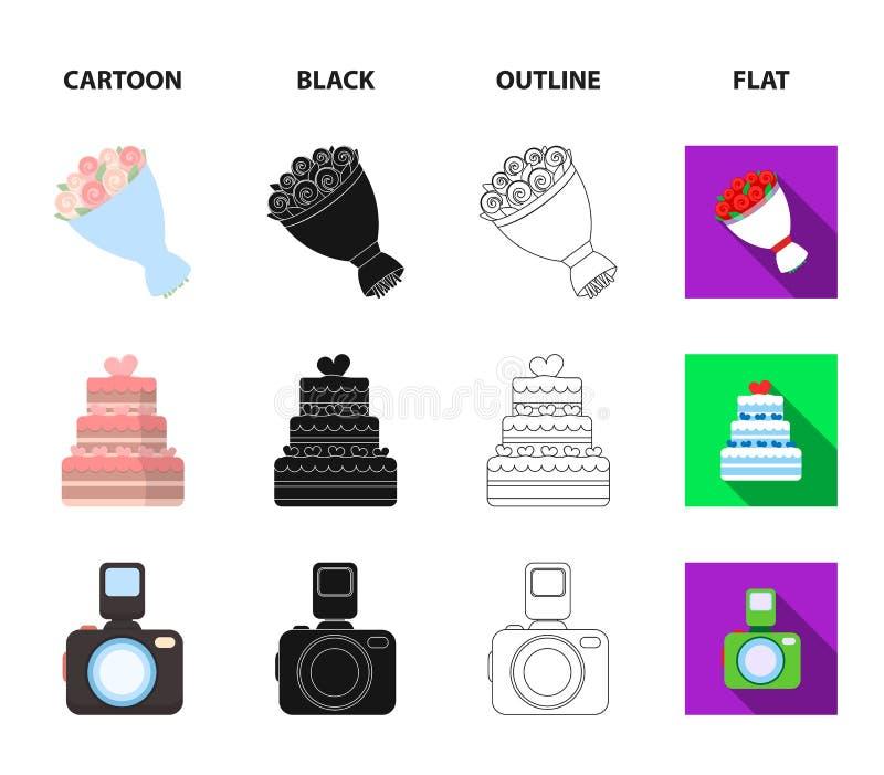 Strzałkowaty amorek, gołąbka, bukiet kwiaty, ślubny tort Weddin gset inkasowe ikony w kreskówce, czerń, kontur, mieszkanie styl royalty ilustracja