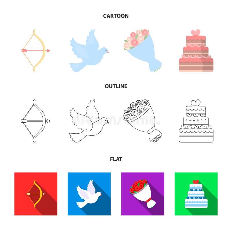 Strzałkowaty amorek, gołąbka, bukiet kwiaty, ślubny tort Weddin gset inkasowe ikony w kreskówce, kontur, mieszkanie stylowy wekto ilustracji