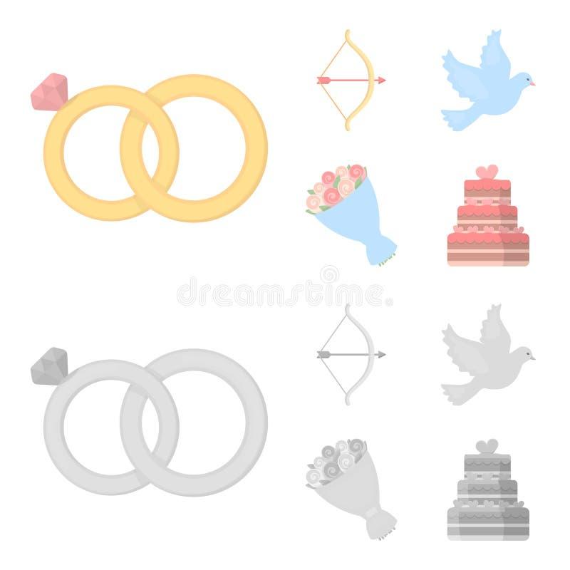 Strzałkowaty amorek, gołąbka, bukiet kwiaty, ślubny tort Weddin gset inkasowe ikony w kreskówce, monochromu stylowy wektor royalty ilustracja