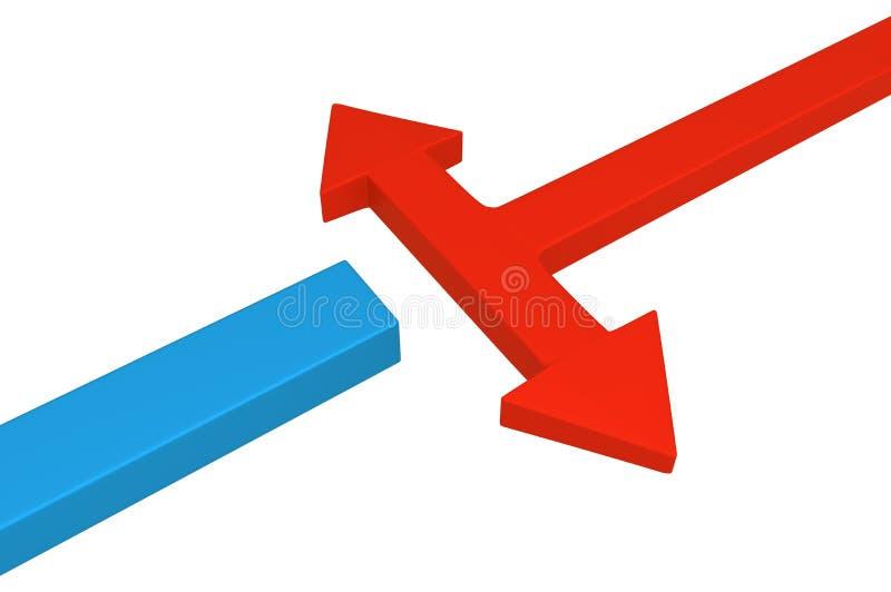 Strzałkowaty błękita blok Kontynuuje ilustracja wektor