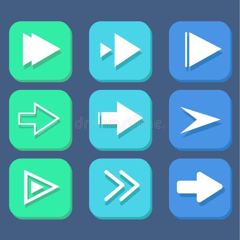 Strzałkowaty błękita znaka ikony set obraz stock