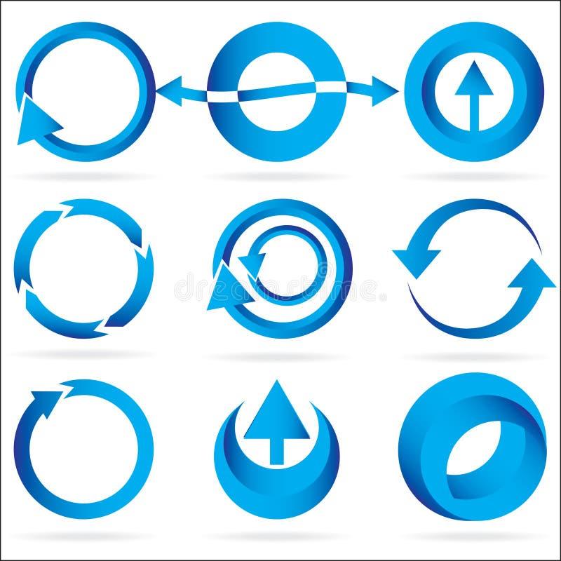 strzałkowaty błękitny okręgu projekta elementu ikony set