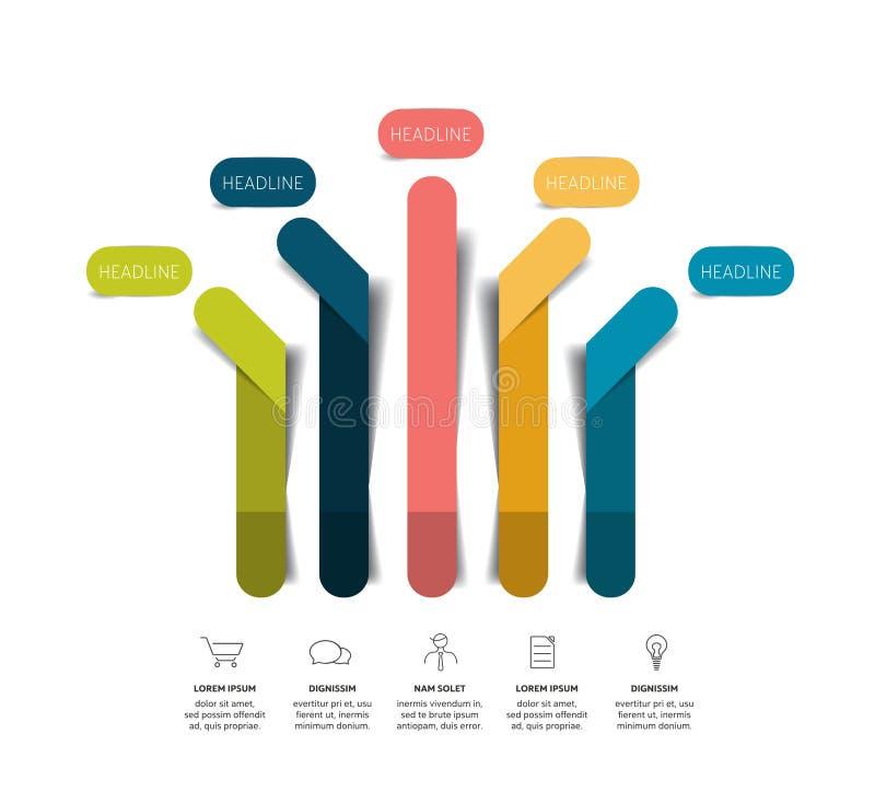 Strzałkowaty infographic plan, flowchart, szablon, mapa ilustracja wektor