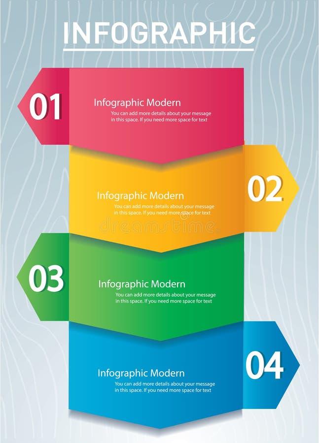 Strzałkowaty infographic pojęcie Wektorowy szablon z 4 opcjami, części, sceny, zapina Może używać dla sieci, diagram, wykres, pre royalty ilustracja