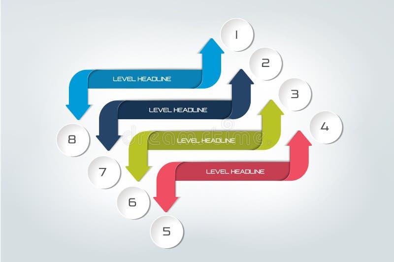Strzałkowaty infographics plan, diagram, mapa, flowchart ilustracja wektor