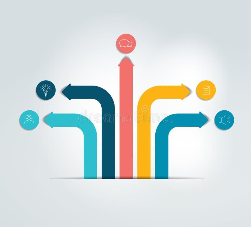 Strzałkowaty infographics plan, flowchart, szablon royalty ilustracja