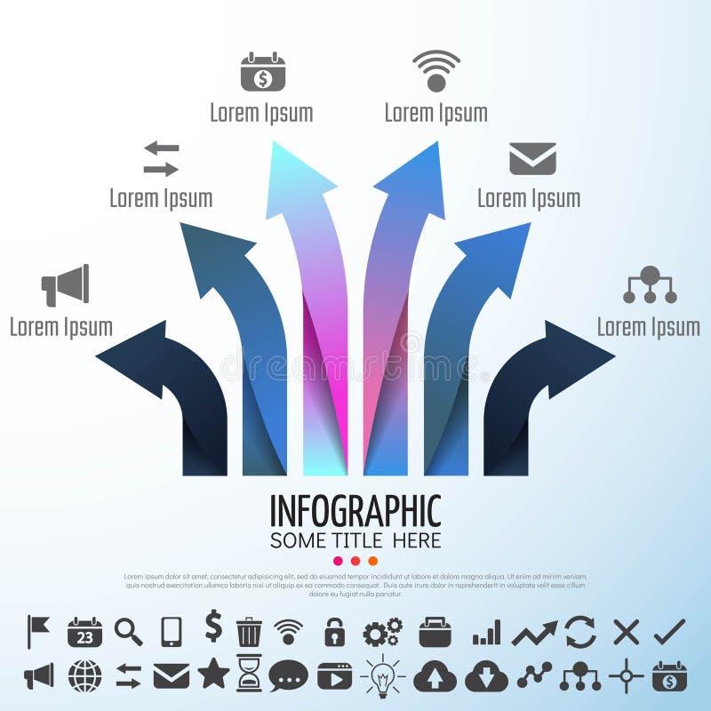 Strzałkowaty Infographics projekta szablon ilustracji