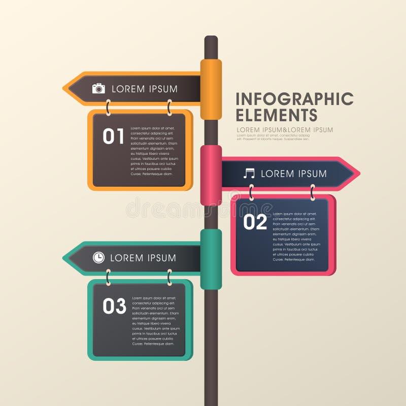 Strzałkowaty kierunkowskazu infographics projekt ilustracja wektor