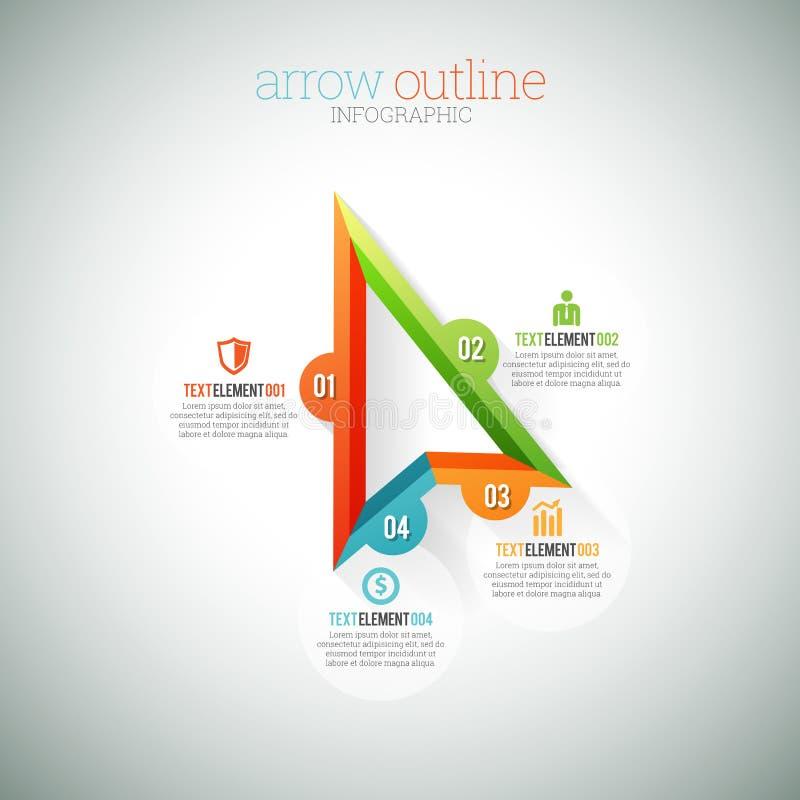 Strzałkowaty kontur Infographic royalty ilustracja
