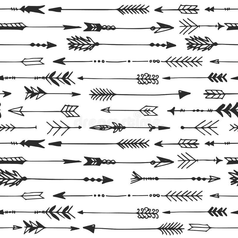Strzałkowaty nieociosany bezszwowy wzór Ręka rysujący rocznika wektor royalty ilustracja