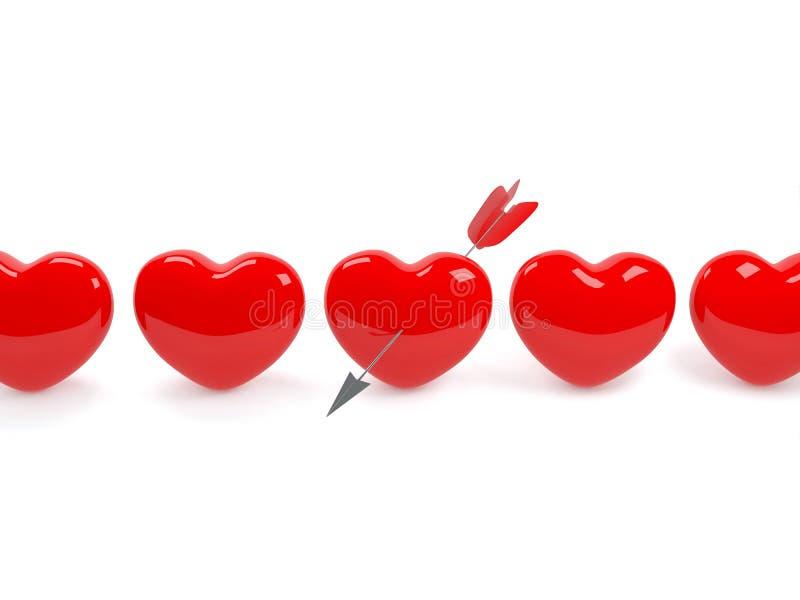 strzałkowaty serce odizolowywająca przebijająca czerwień ilustracji
