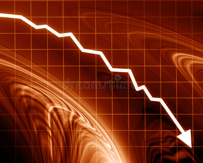 Strzałkowaty wykres iść w dół ilustracji
