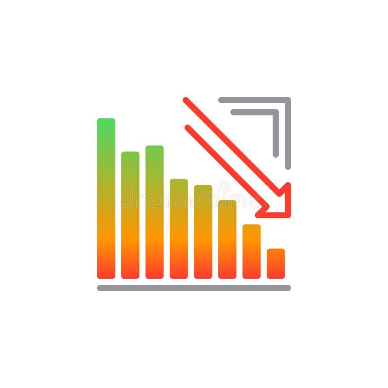 Strzałkowaty wykres iść w dół ikona wektor, wypełniający mieszkanie znak, stały kolorowy piktogram odizolowywający na bielu ilustracja wektor