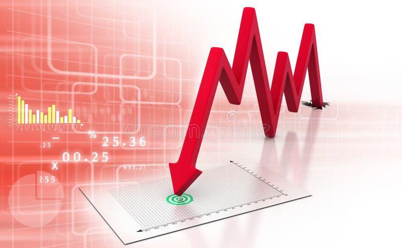 Strzałkowaty wykresu seansu biznesu spadek ilustracji